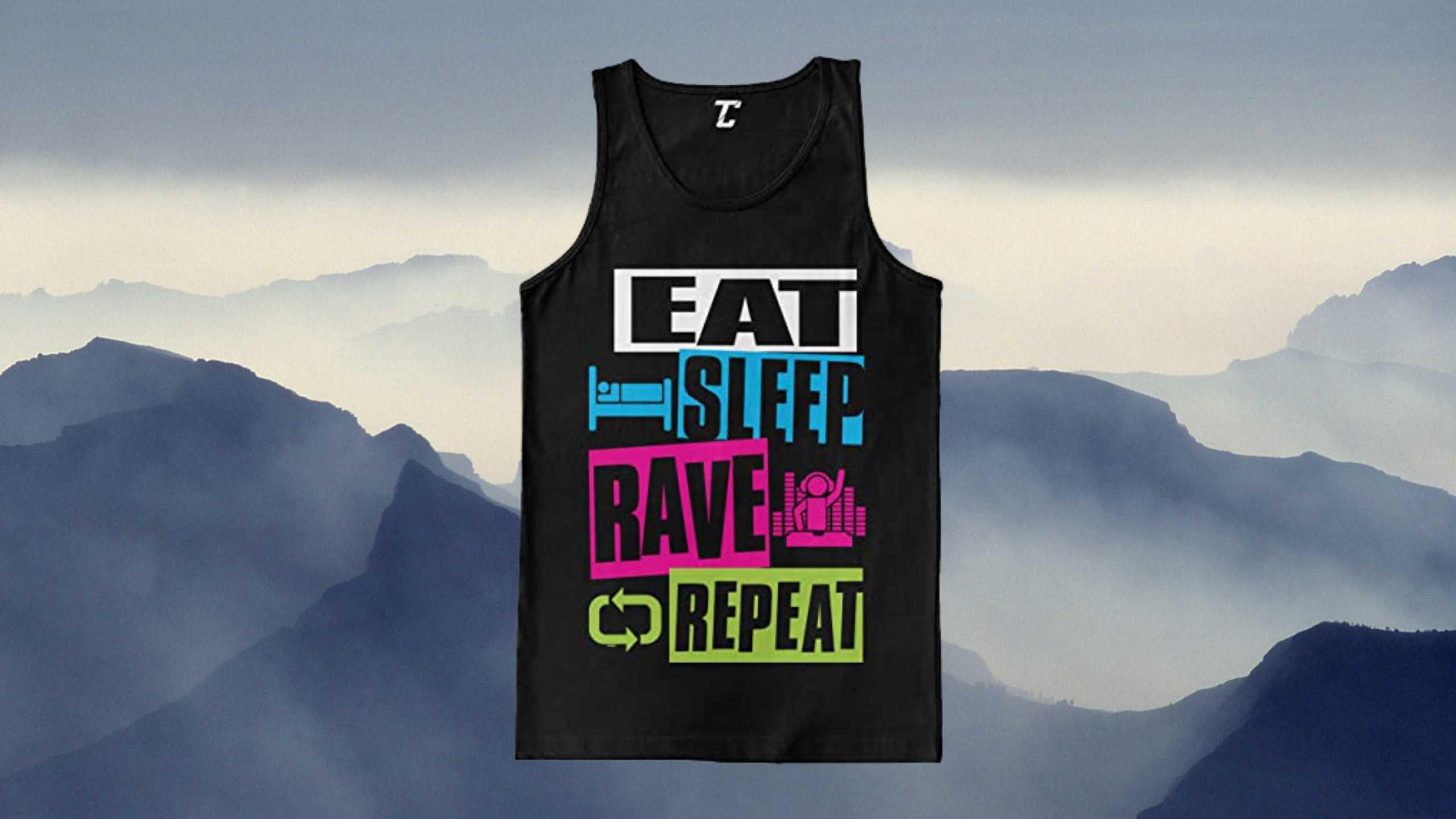 EAT SLEEP RAVE REPEAT – Neon Club Music Men's Tanktop