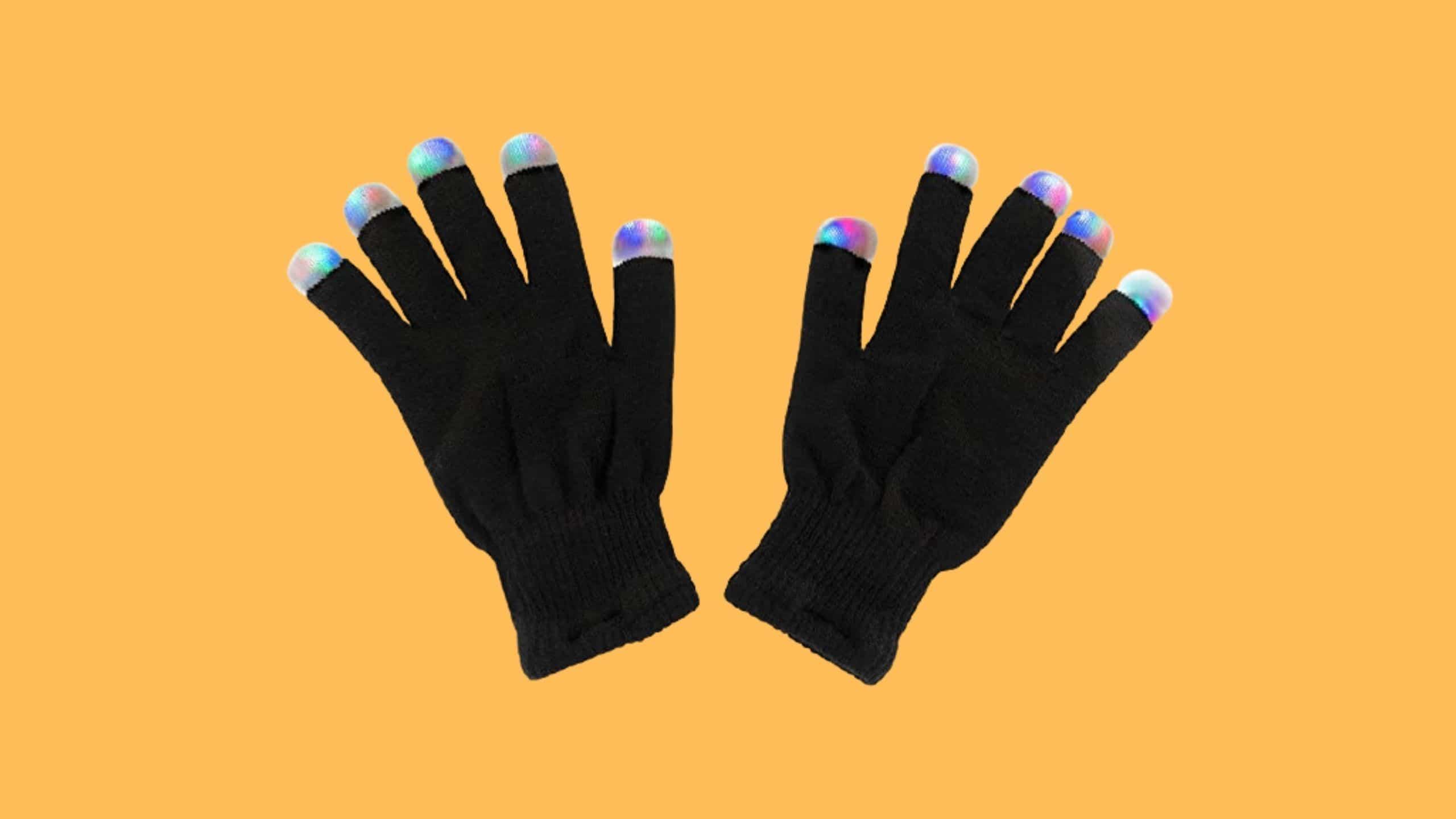 Black Knit LED Rave gloves by Super Z Outlet