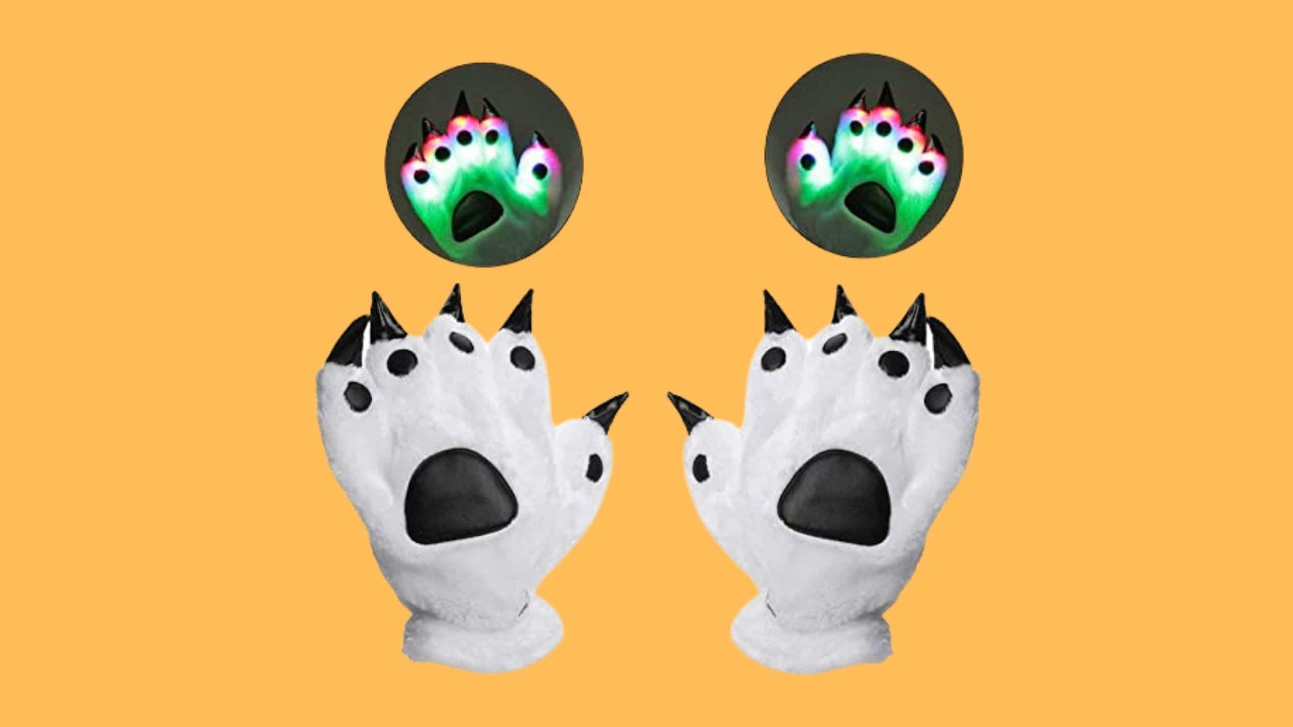 Luwint LED Bear Paw Gloves for Festivals and Raves