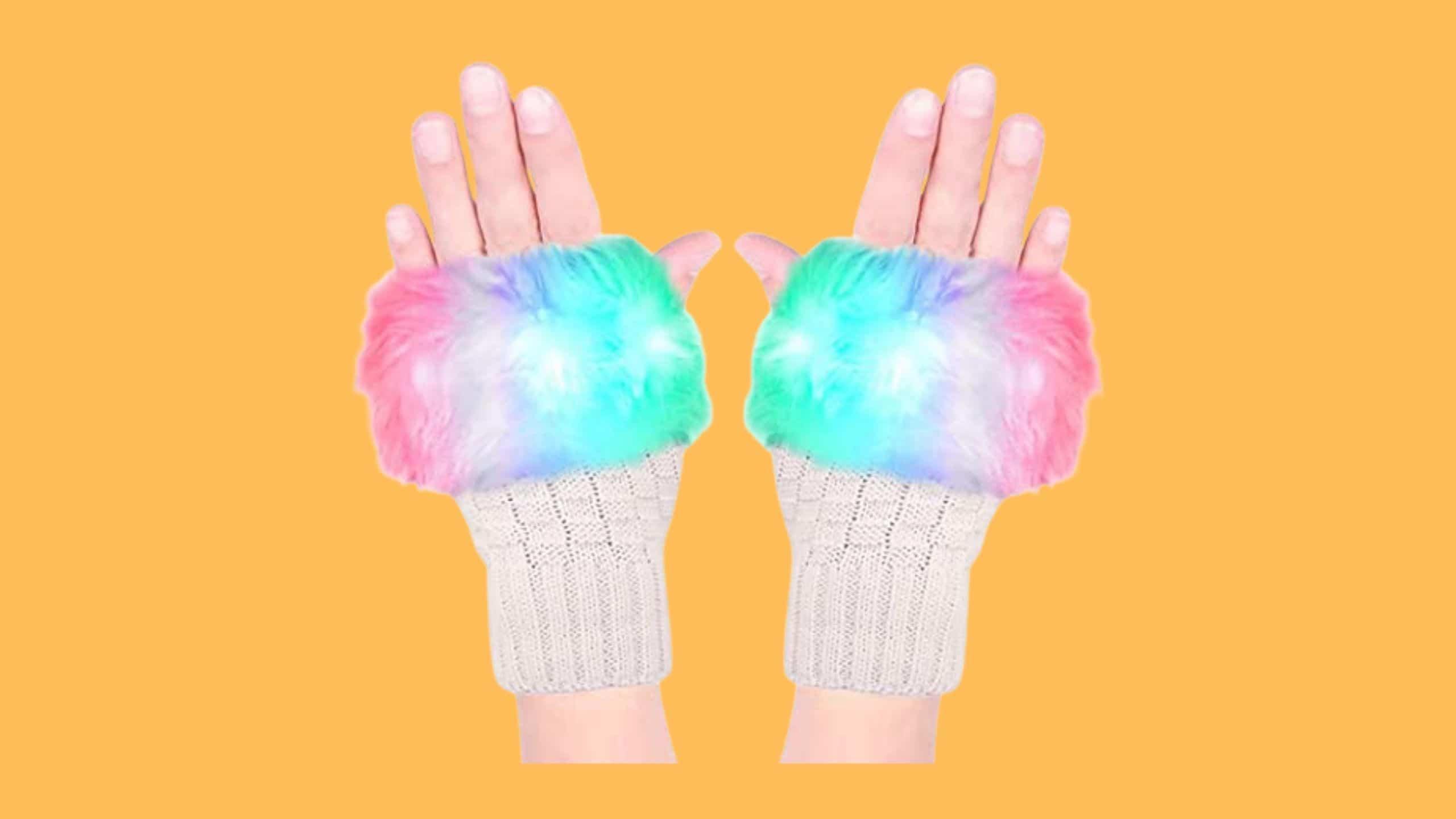 Luwint's LED Fingerless Knit Rave gloves