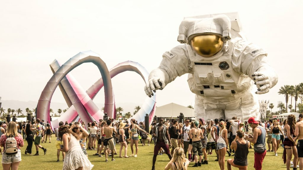 A picture of the iconic spaceman at Coachella music festival.